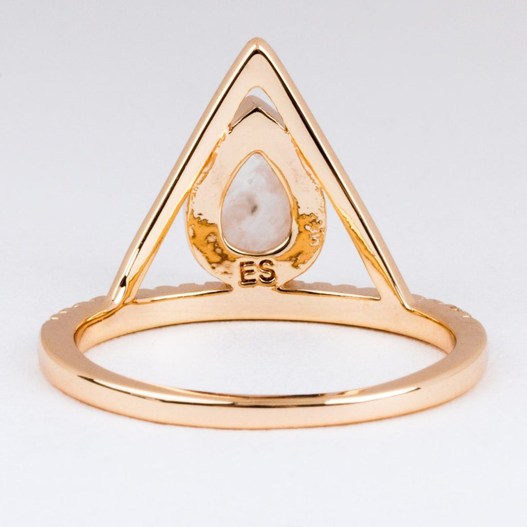 Moonstone Pave Triangle Ring - rings - Elizabeth Stone local eclectic