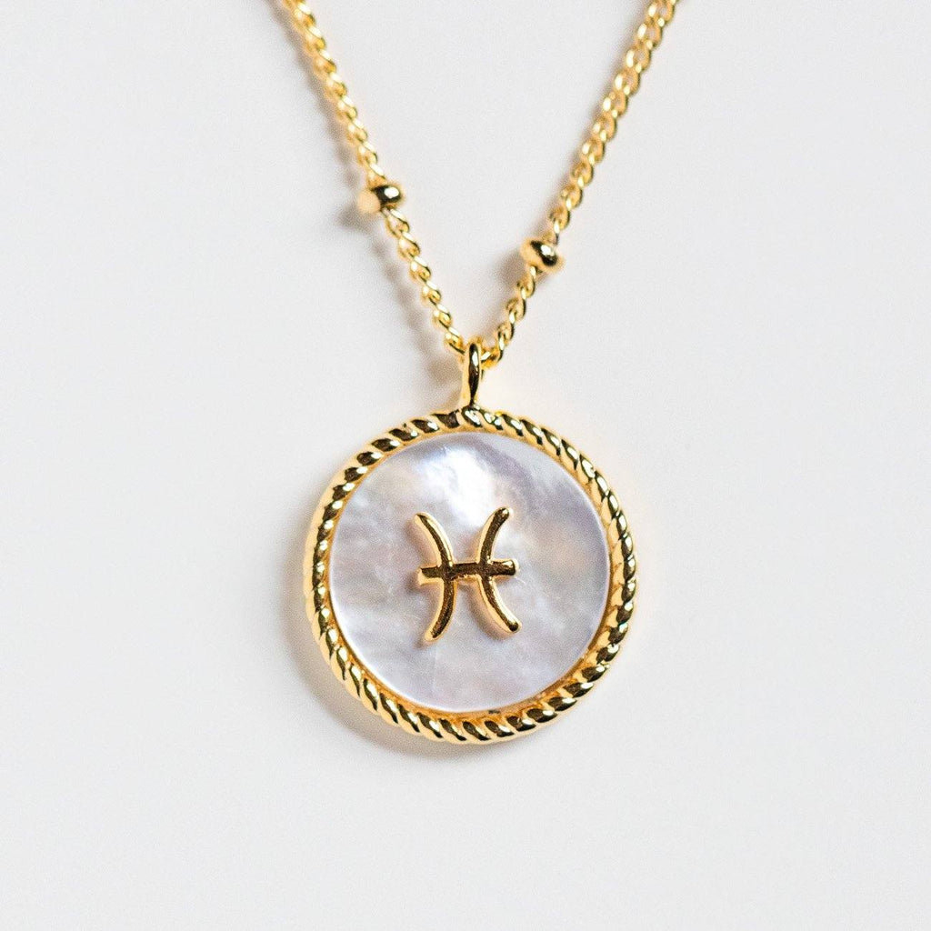 zodiac mother of pearl coin necklace unique yellow gold celestial jewelry