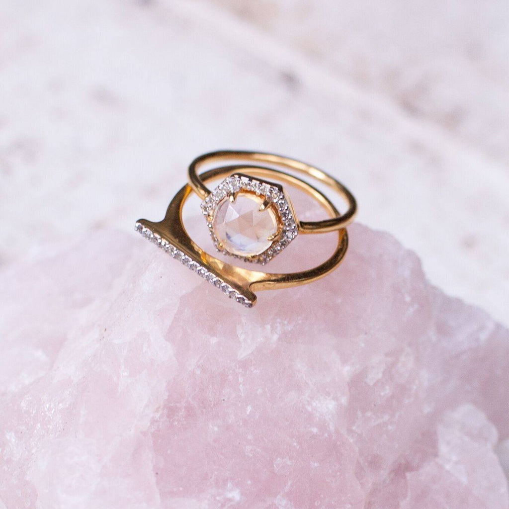 Pave Diamond Bar Ring - local eclectic  - 7