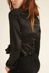 Black Two Way Wrap Top