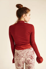 Red Merino Wool Turtle Neck Top