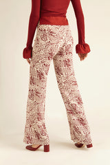 Red Patterned Wide Leg Pants