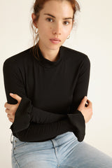 Black Merino Wool Turtleneck Top