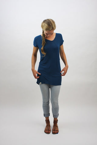 Angle-Seam Tunic - Teal - Coze Apparel