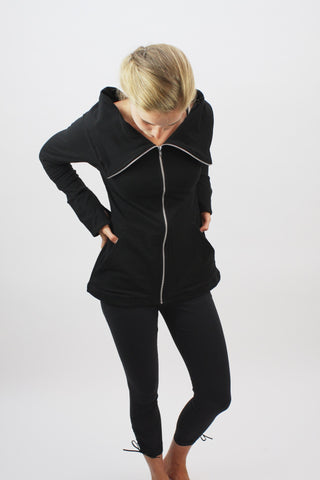 Straight Zip Jacket - Black - Coze Apparel