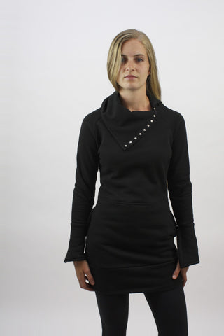 Snap-Tape Tunic - Black Solid - Coze Apparel