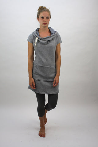 Beach Hoodie Dress - Navy Mini Stripe - Coze Apparel