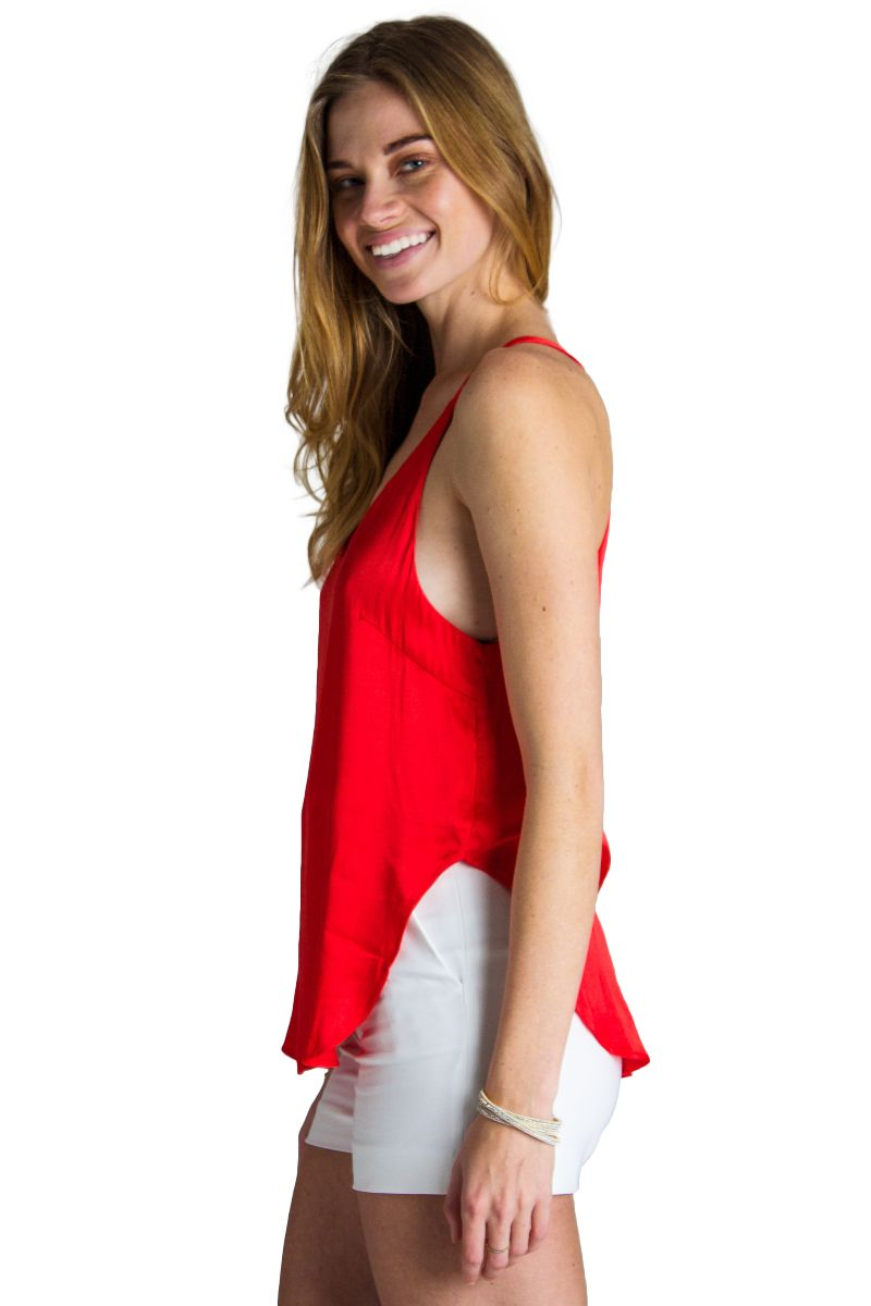 Mia Open Back Tank // Red