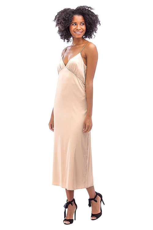 Gold Maxi Slip Dress