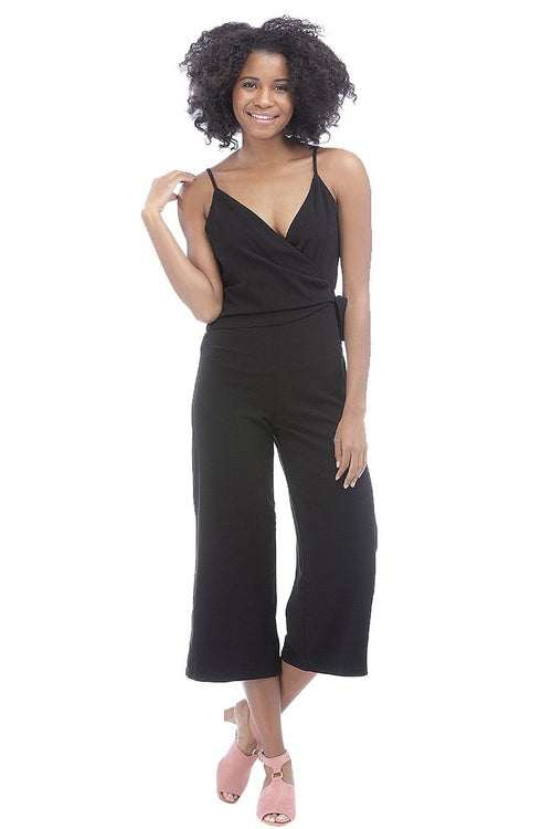 Tie-Waist Cropped Jumpsuit // Black