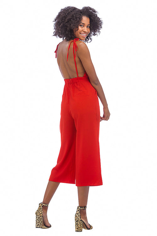 Tie-Shoulder Jumpsuit // Red