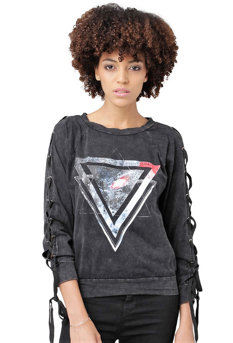 Triangle Laced-Sleeve Pullover