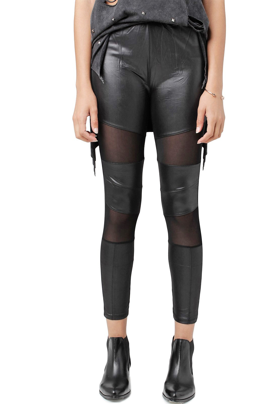 Sheer Faux Leather Leggings