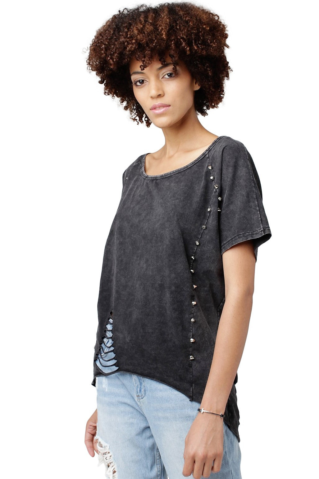 Studded Distressed Tee