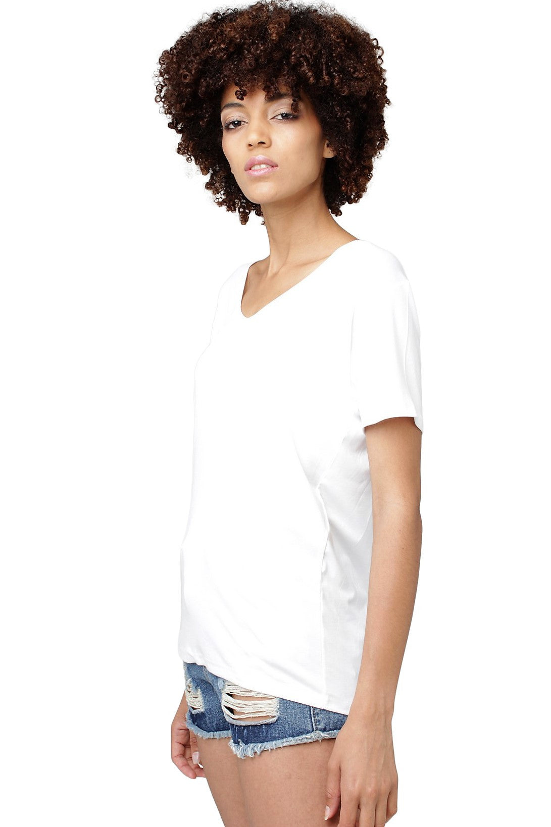 V-Neck Short-Sleeve T-Shirt // White