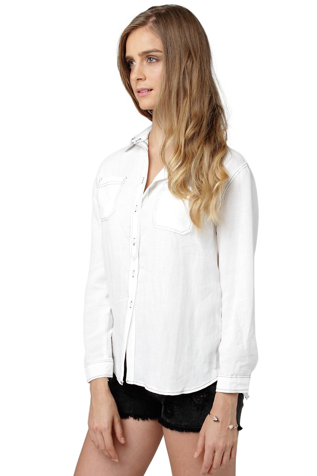 Patch-Pocket Denim Shirt
