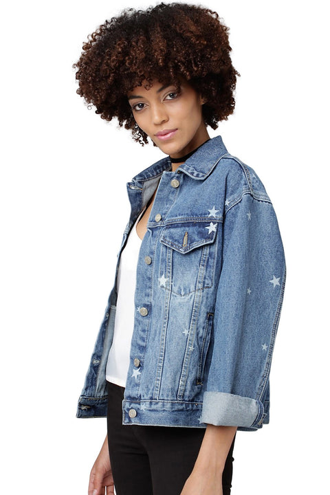 Stars Oversized Denim Jacket