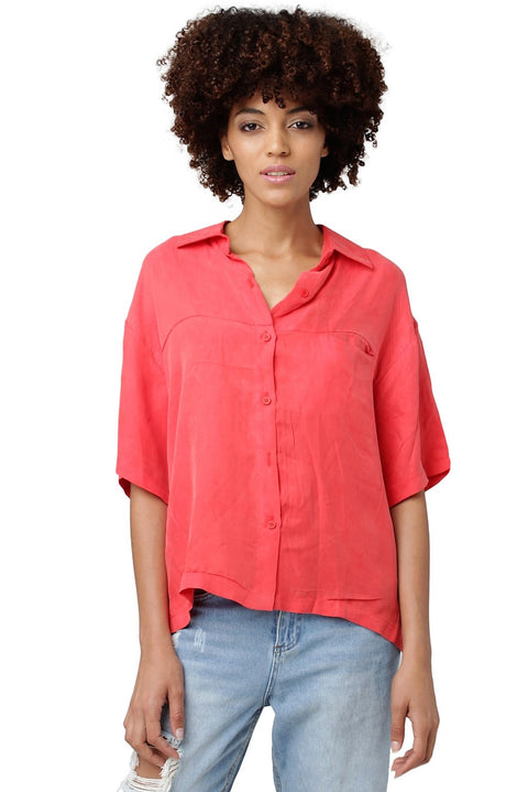 Short-Sleeved Silk Blouse