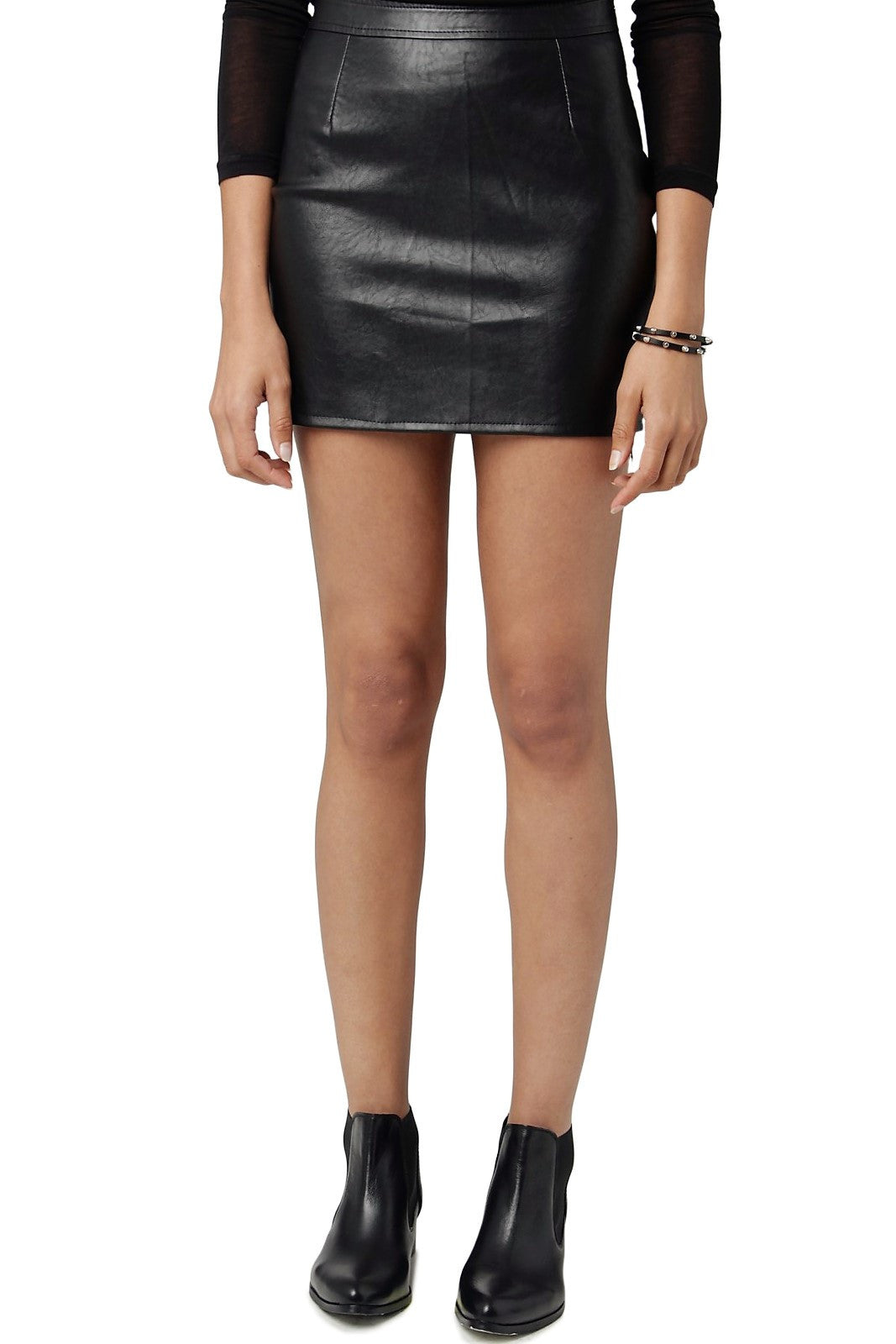 A-Line Faux Leather Skirt