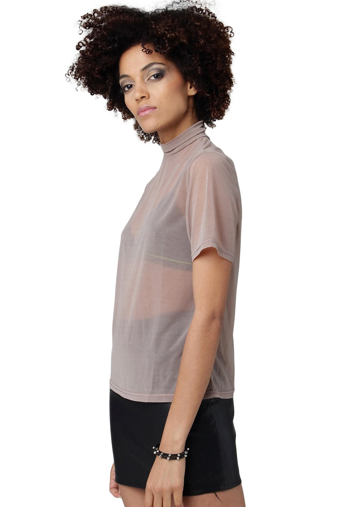 Sheer Turtleneck Tee // Nude