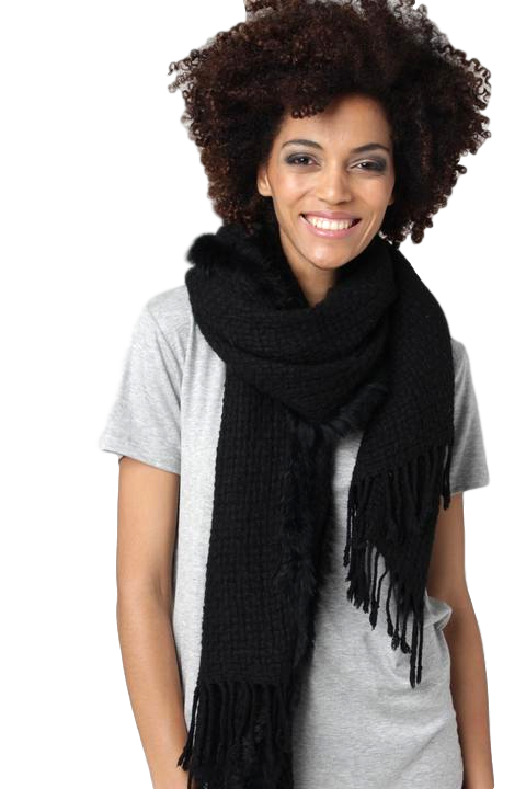 Knitted Scarf With Fur