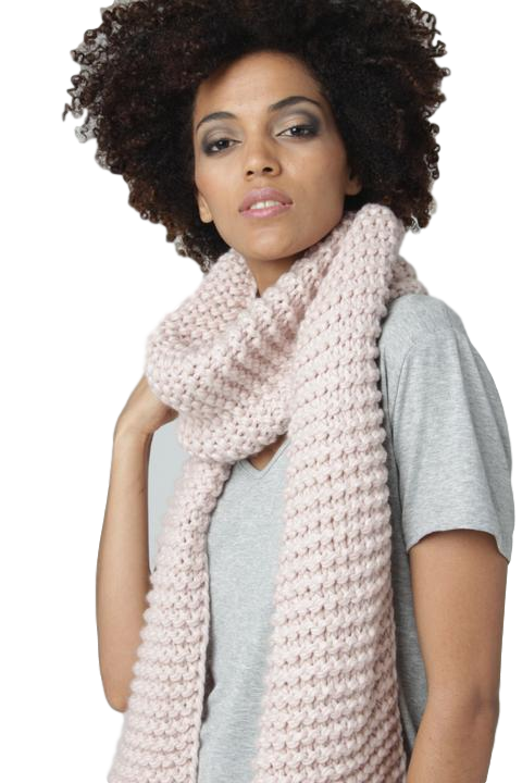 Knitted Wool Scarf // Pink