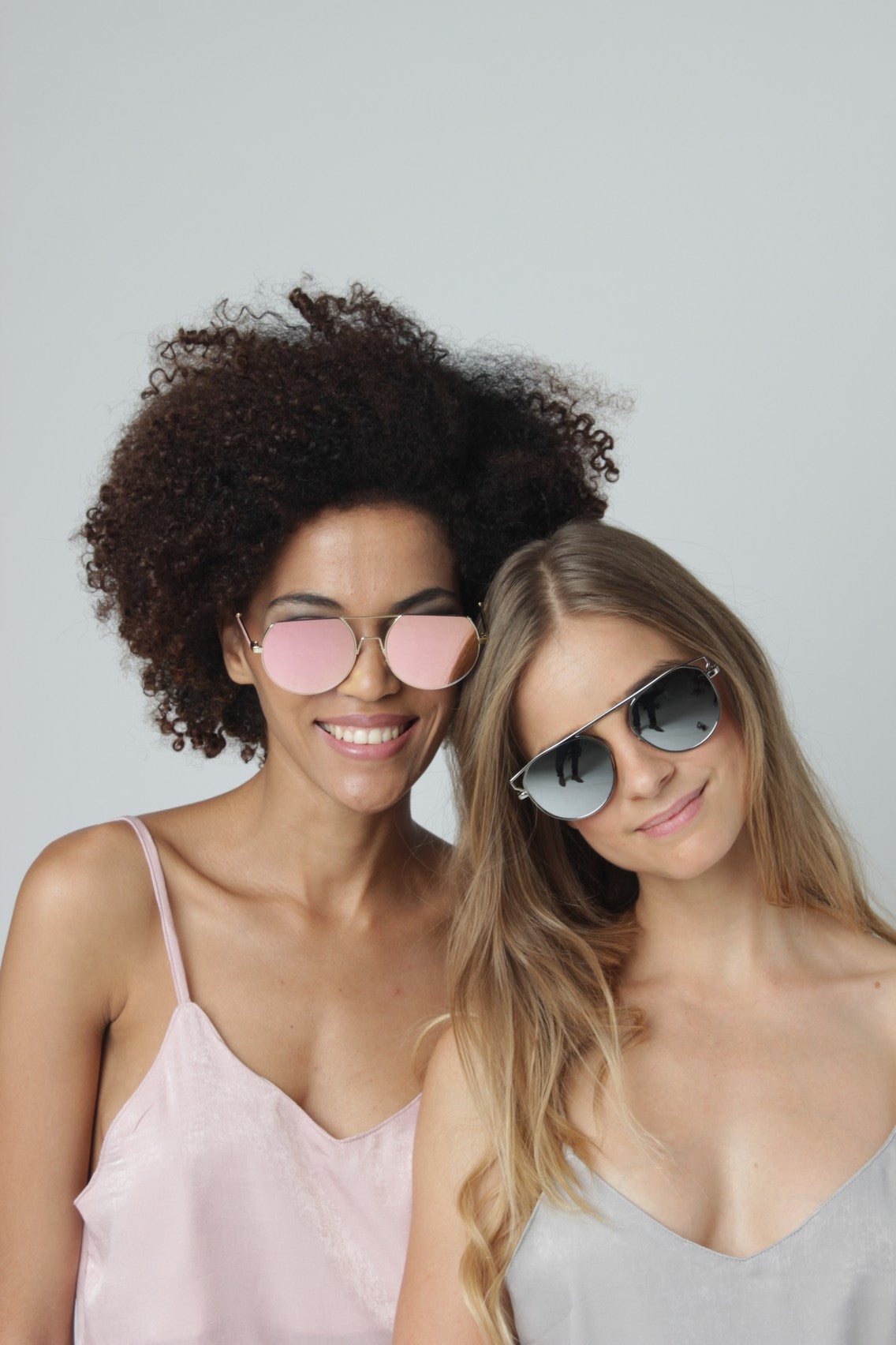 Flat Top Pink Mirror Round Sunglasses