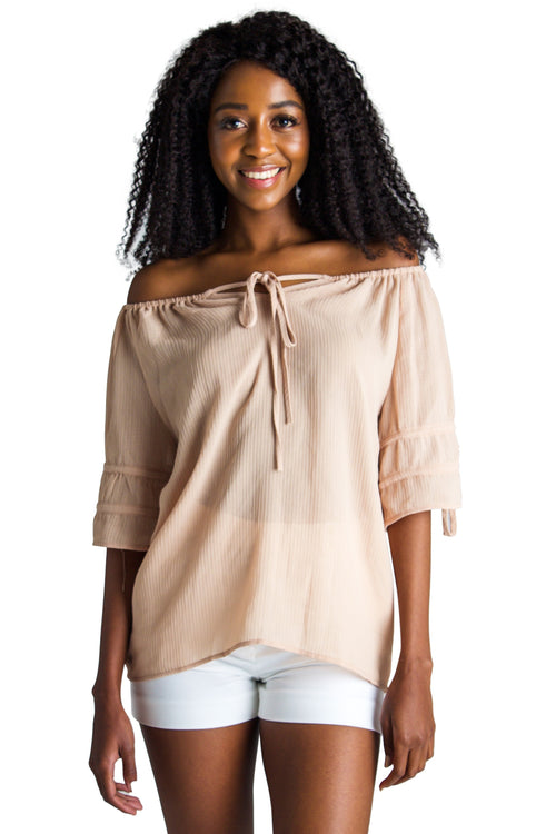 Off Shoulder Tie-Sleeve Blouse