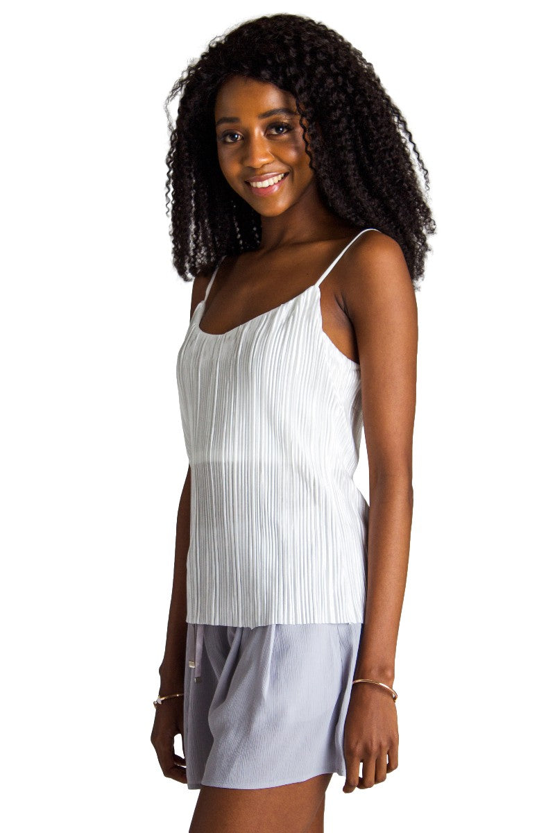 Metallic Pleated Tank // White