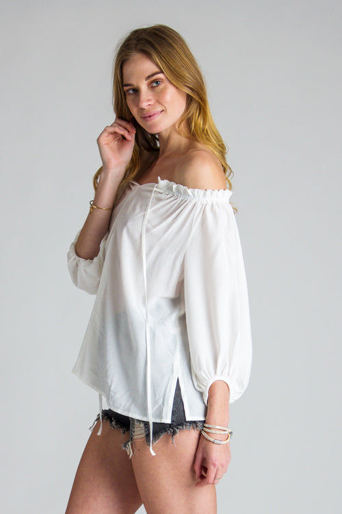 Off-Shoulder Cotton Blouse