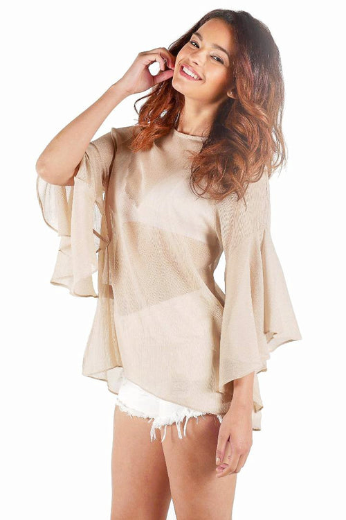 Bell-Sleeve Blouse // Gold
