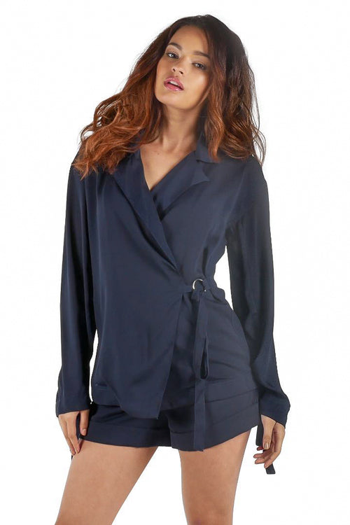 Side-Tie Blazer Blouse // Navy