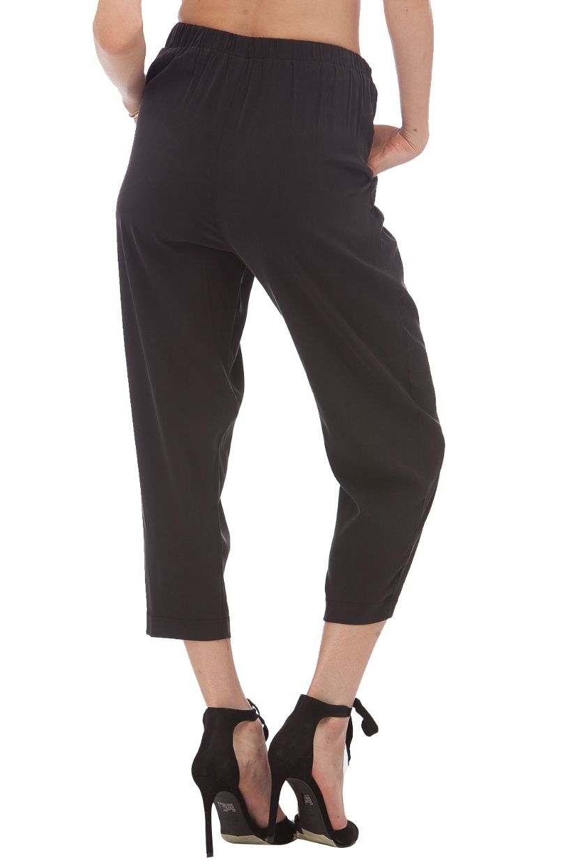 Silk Cropped Trousers // Black
