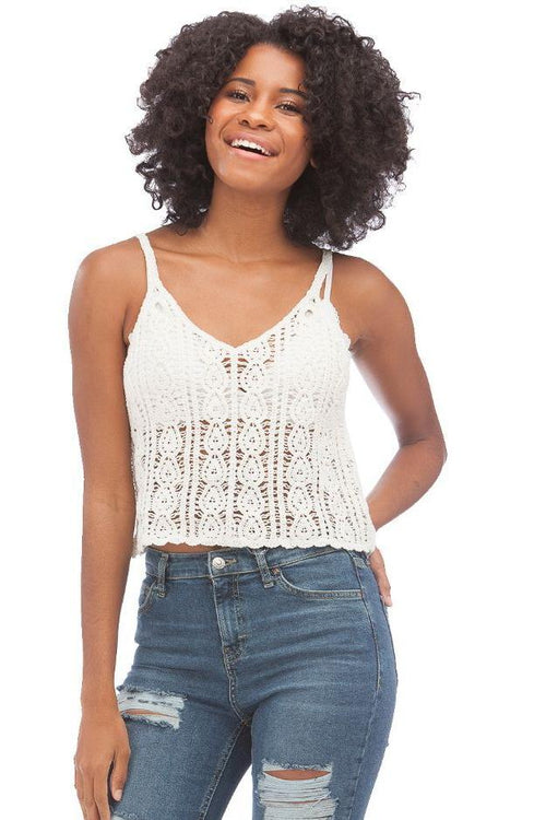 Boho Knitted Tank // White