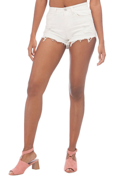 Denim Ripped Shorts // White