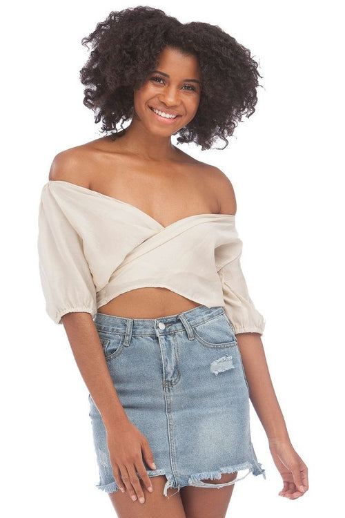 Vacay Girl Tie-Front Top // Beige