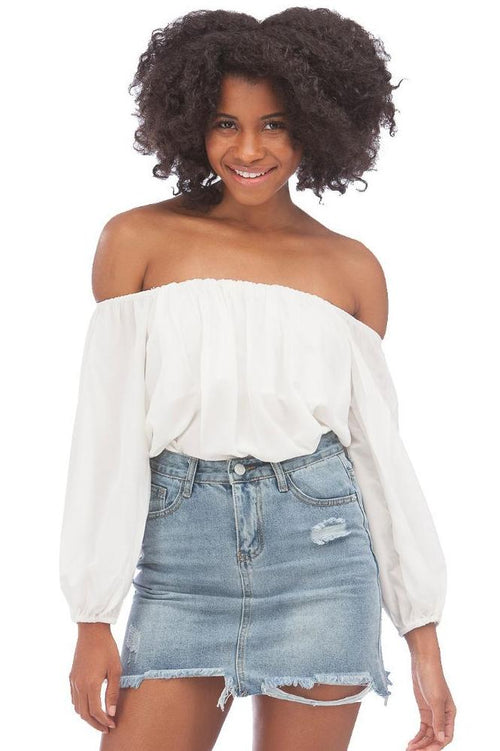 Dream Girl Off-Shoulder Blouse // White