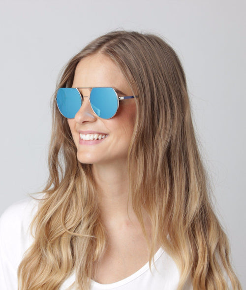 Cut Top Blue Mirrored Sunglasses