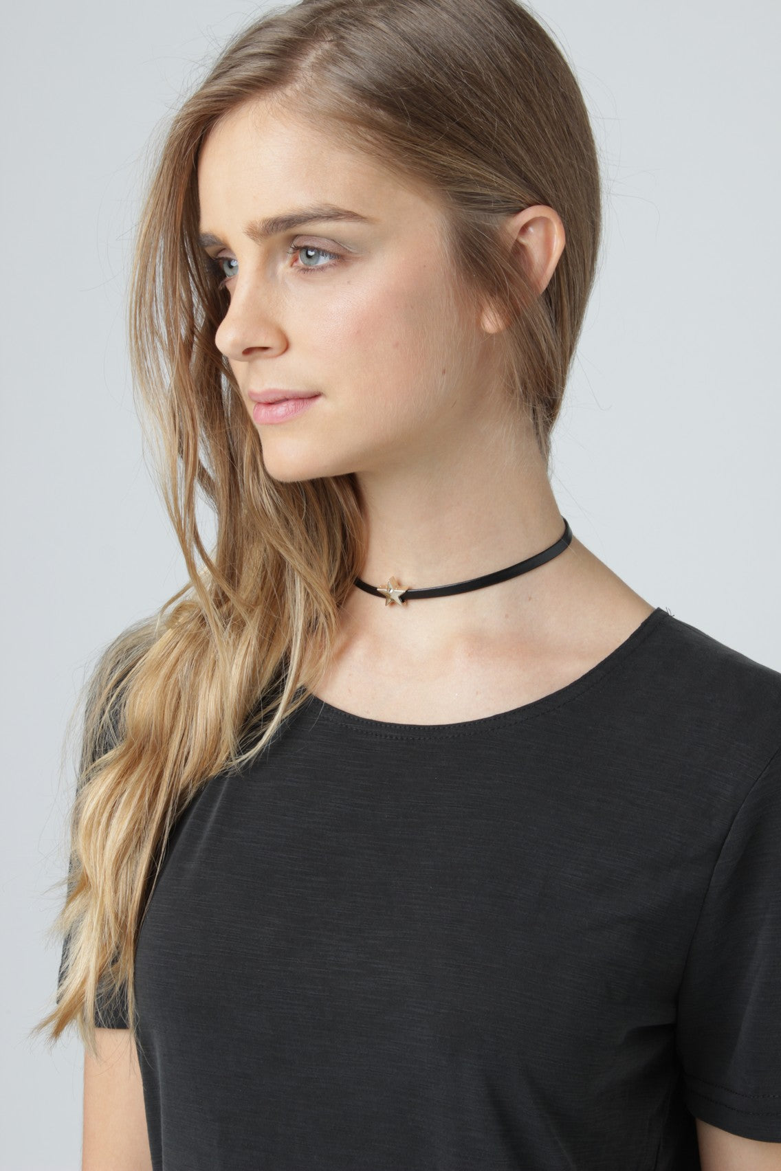 Gold Star Ultra Thin Black Choker