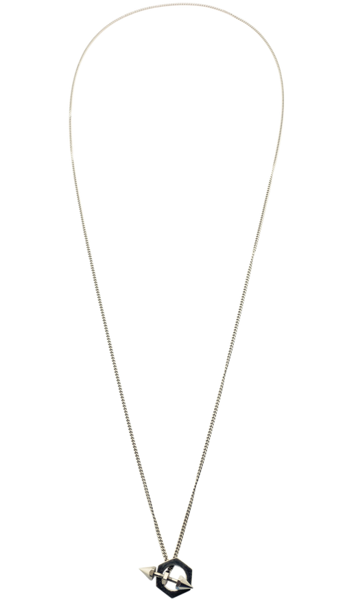 Silver Long Drop Studded Necklace