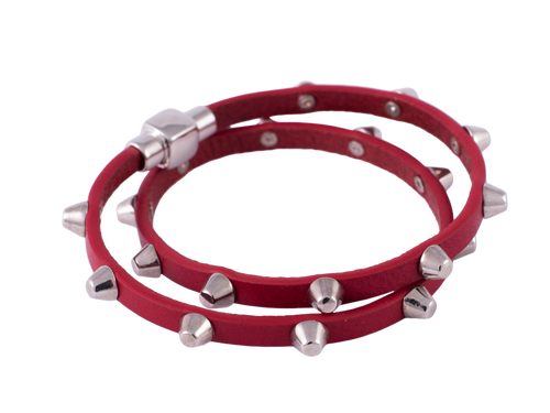 Fiery Red Studded Wrap Bracelet