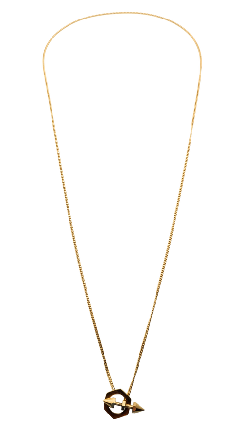 Gold Long Drop Studded Necklace