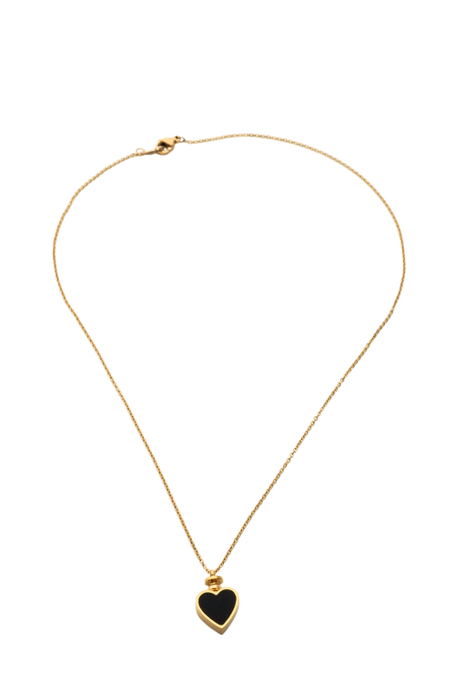 Gold Heart Charm Pendant Necklace
