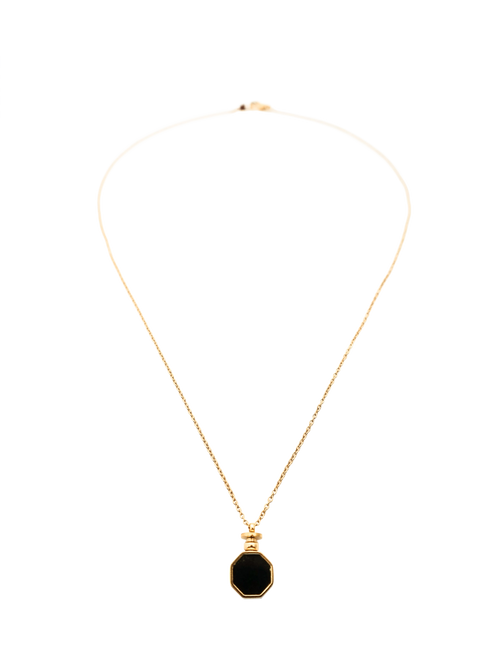 Golden Octagon Long Chain Necklace