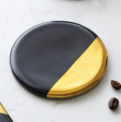 Black Ceramic Gold Plated Cup Coaster