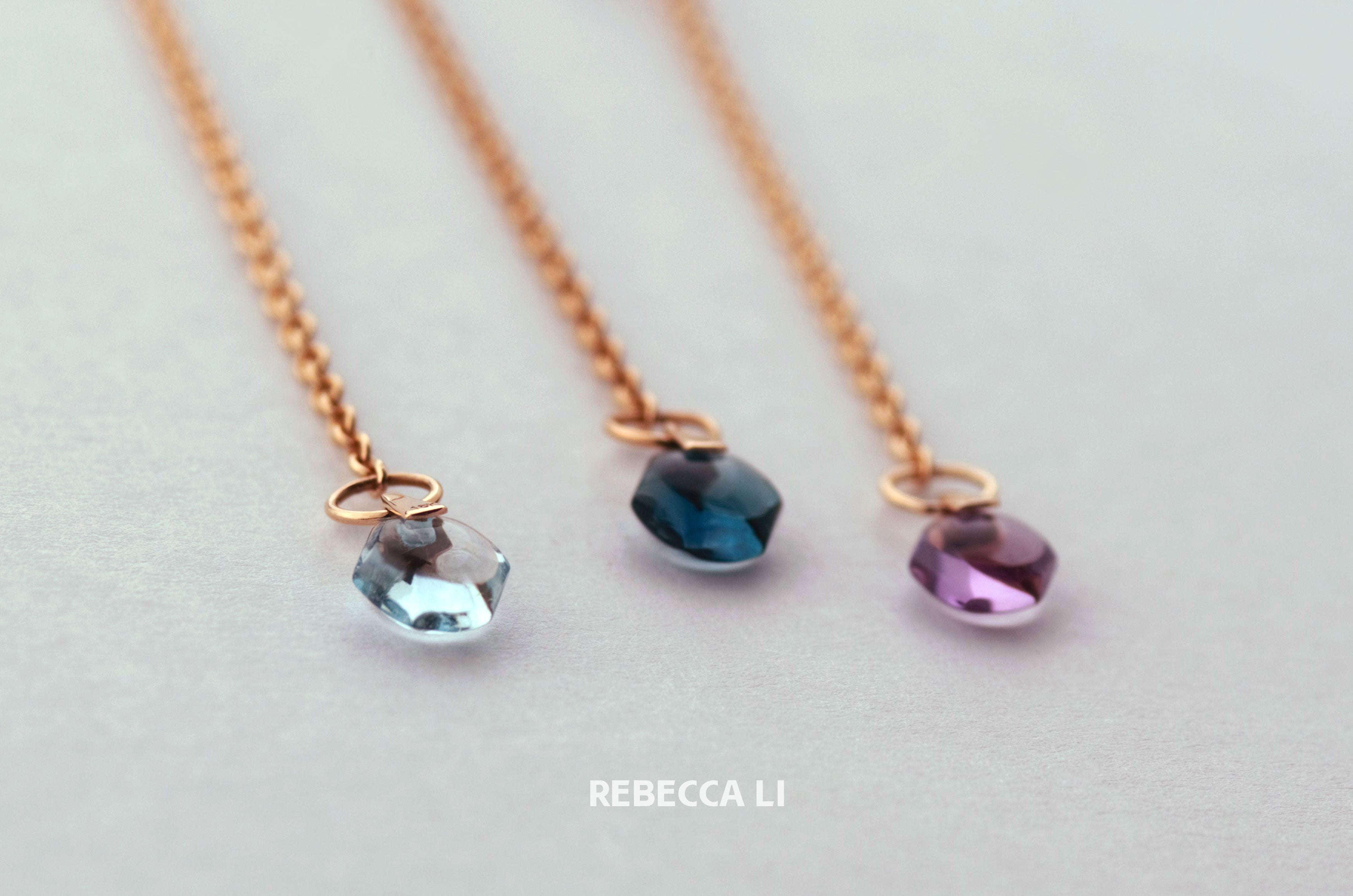 two blue gemstones and one purple amethyst crystal 18k solid rose gold chain - Rebecca Li