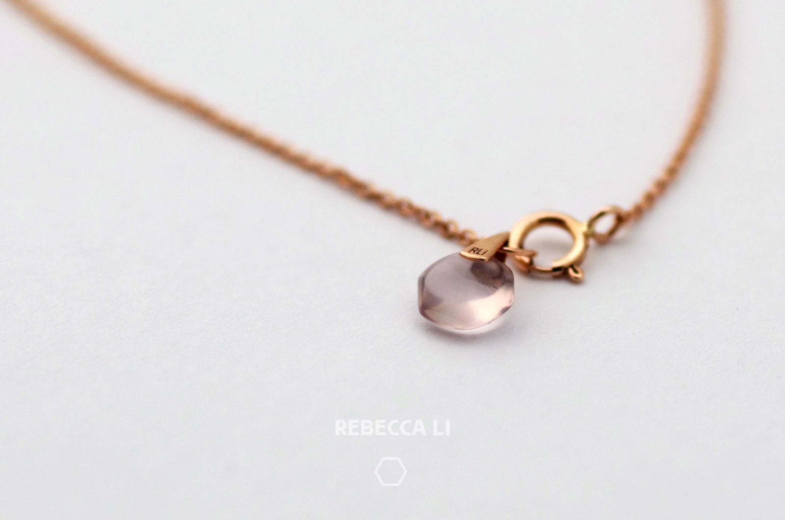 Perfect dainty mini natural rose quartz crystal link on 18k solid rose gold chain