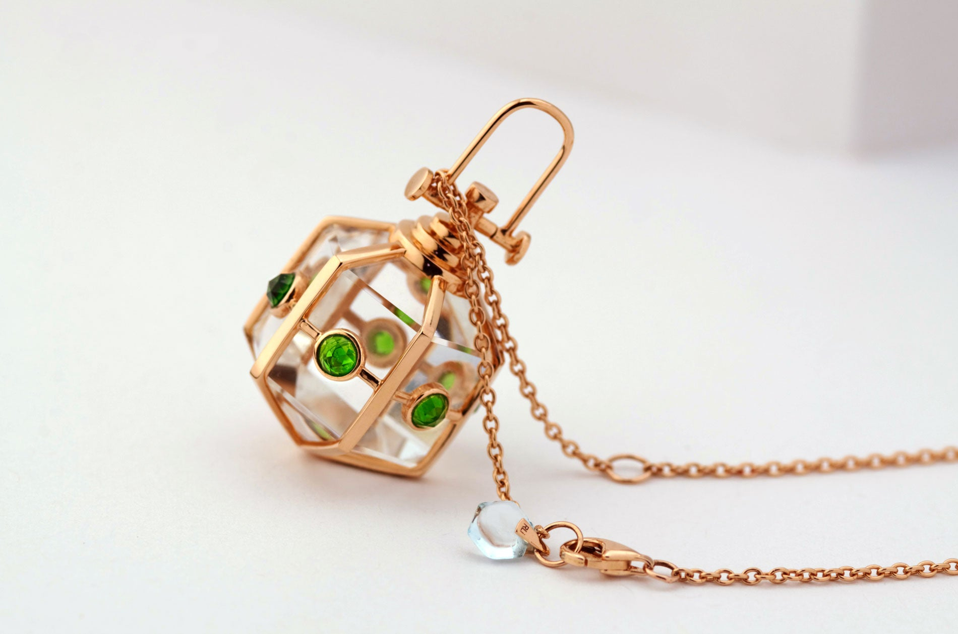 18k solid rose gold six senses talisman large, diopside and rock crystal