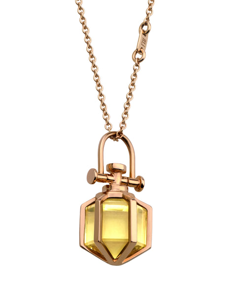 18k Solid Rose Gold Talisman Necklace with Natural citrine crystal, Money crystal. Rebecca Li