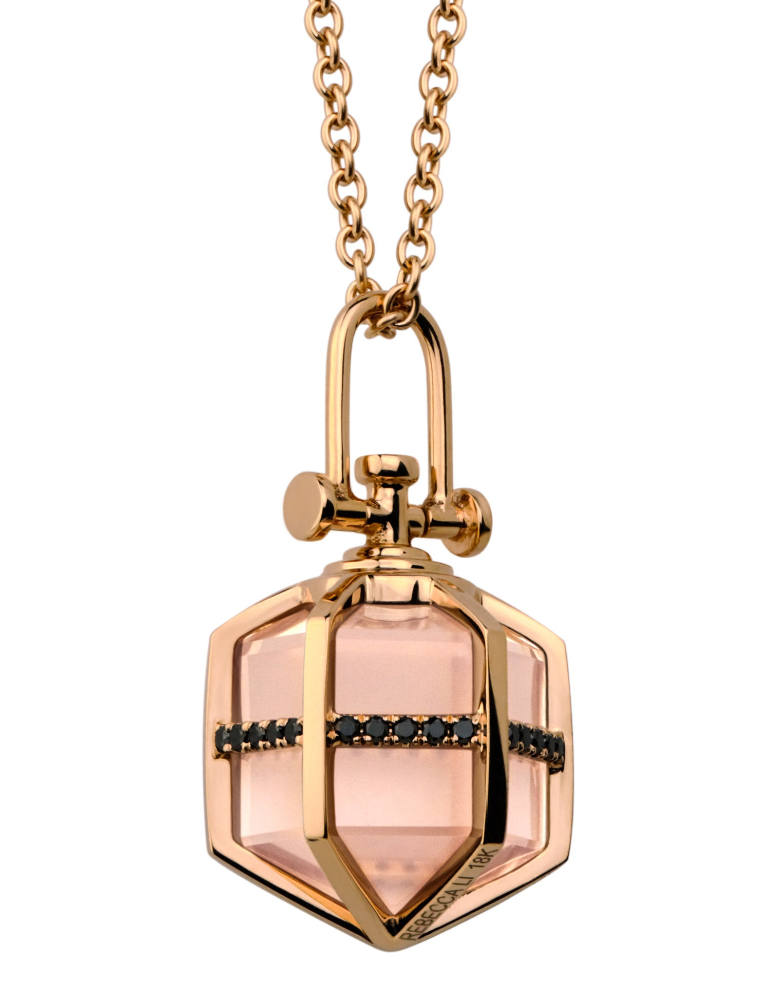 Medium 18k real rose gold pendant with black diamond and rose medium 18k real rose gold necklace and pendant with black diamond and rose quartz healing crystal aloadofball Choice Image